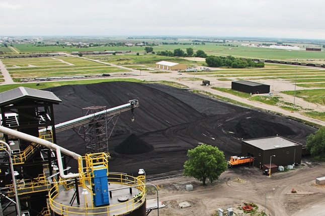 Coal stockpiles at Whelan Energy Center Unit 2, pictured here in 2011, are reaching low levels due to poor rail service from BNSF.